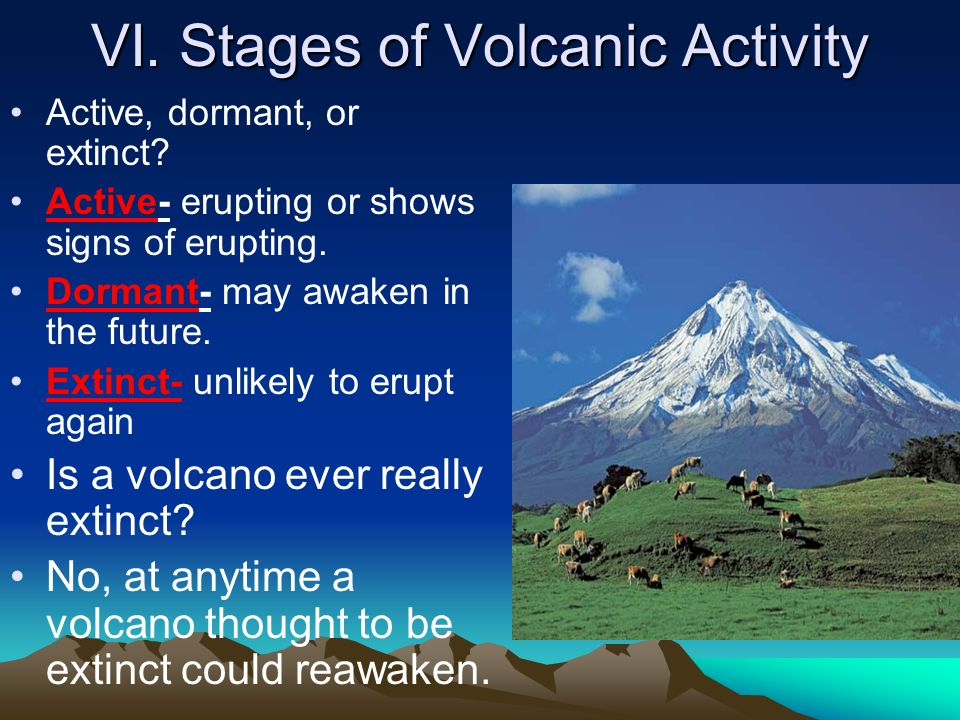 VI. Stages of Volcanic Activity