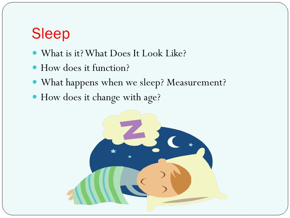 Sleep What is it What Does It Look Like How does it function