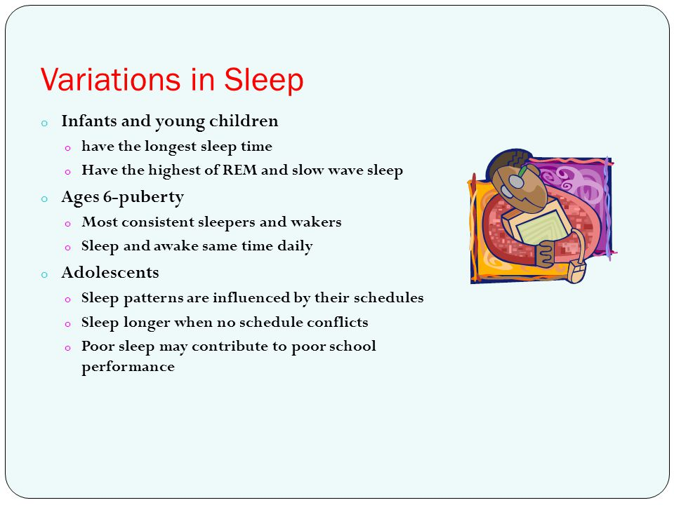 Variations in Sleep Infants and young children Ages 6-puberty