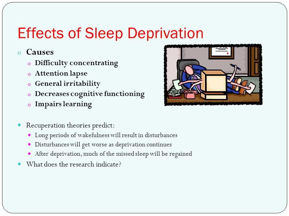 sleep deprivation and cognition The effects of sleep deprivation on cognitive performance have been studied through the use of parametric visual attention tasks functional magnetic resonance imaging of participants' brains who were involved in ball-tracking tasks of various difficulty levels were obtained.