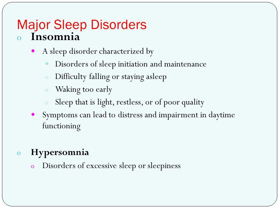 Major Sleep Disorders Insomnia Hypersomnia
