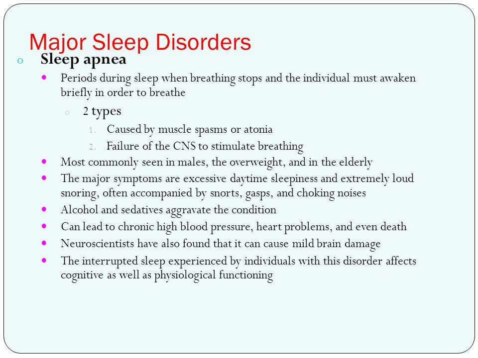 Major Sleep Disorders Sleep apnea