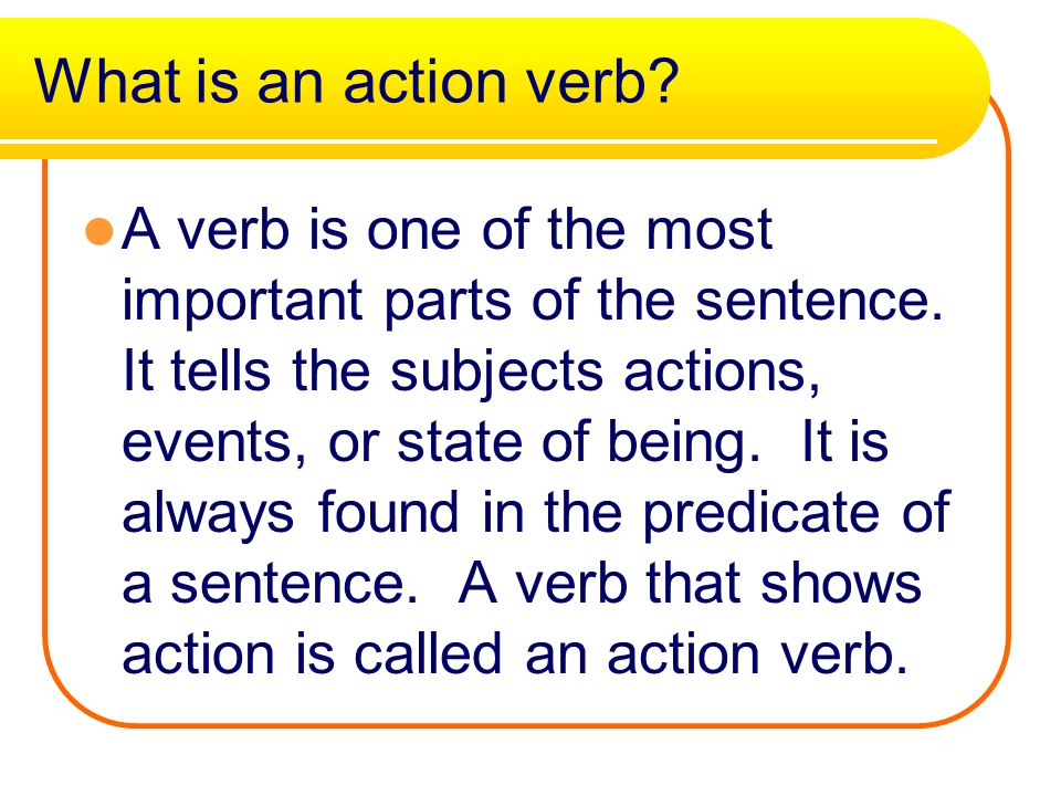 What is an action verb