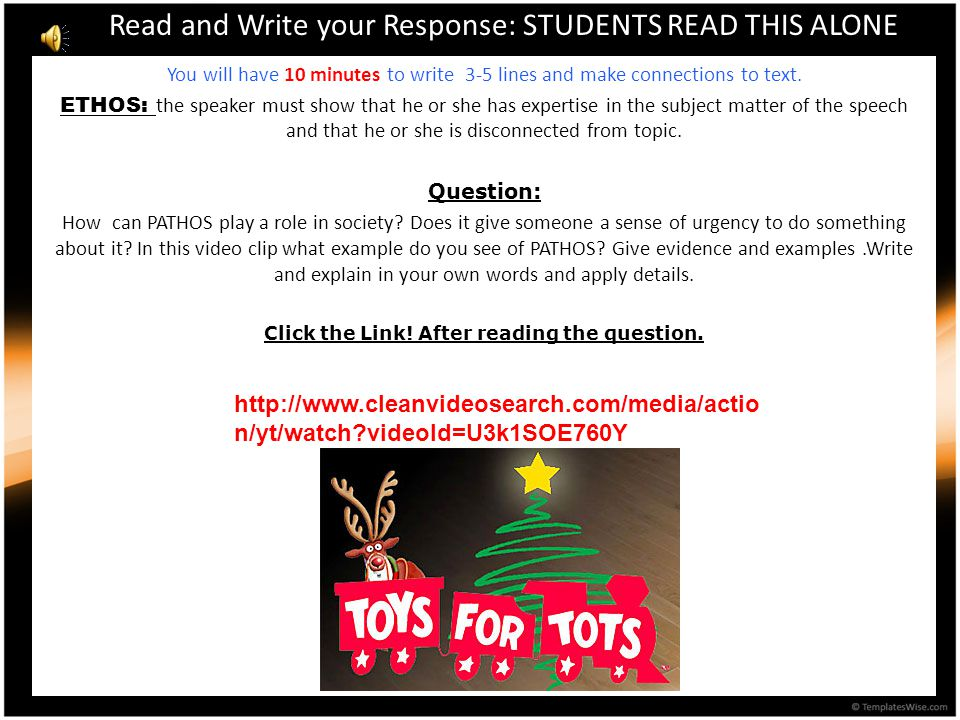 Read and Write your Response: STUDENTS READ THIS ALONE