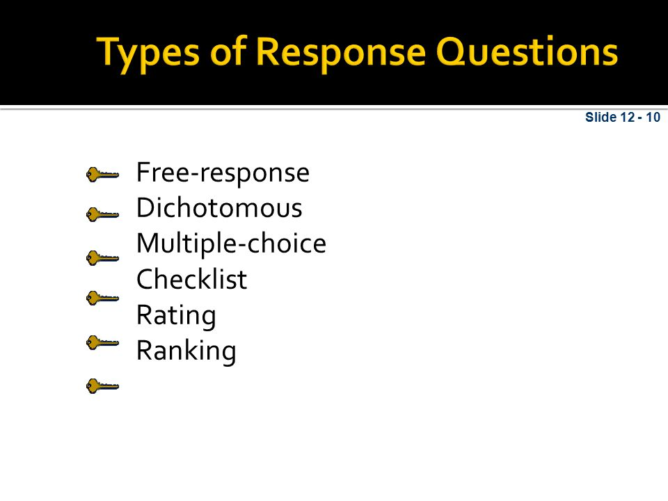 Types of Response Questions
