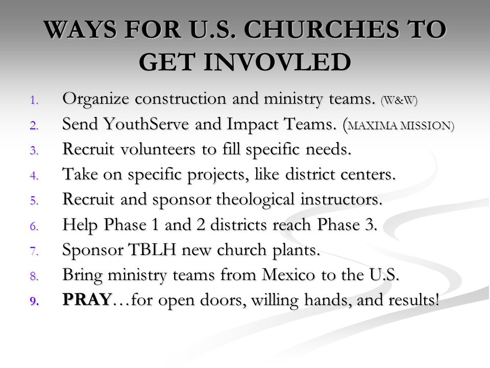 WAYS FOR U.S. CHURCHES TO GET INVOVLED