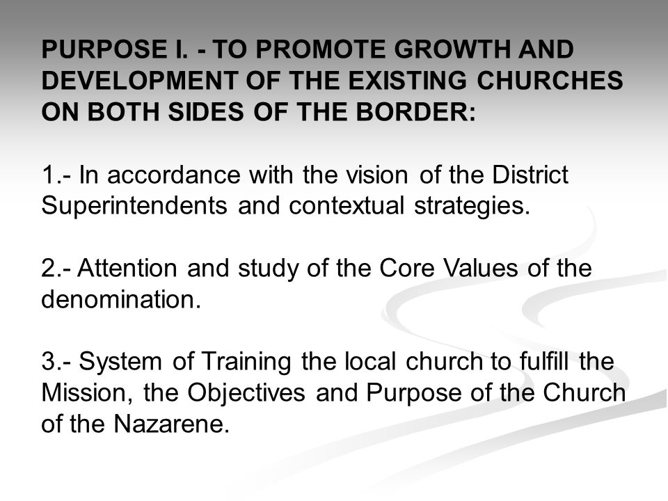 PURPOSE I. - TO PROMOTE GROWTH AND DEVELOPMENT OF THE EXISTING CHURCHES ON BOTH SIDES OF THE BORDER: