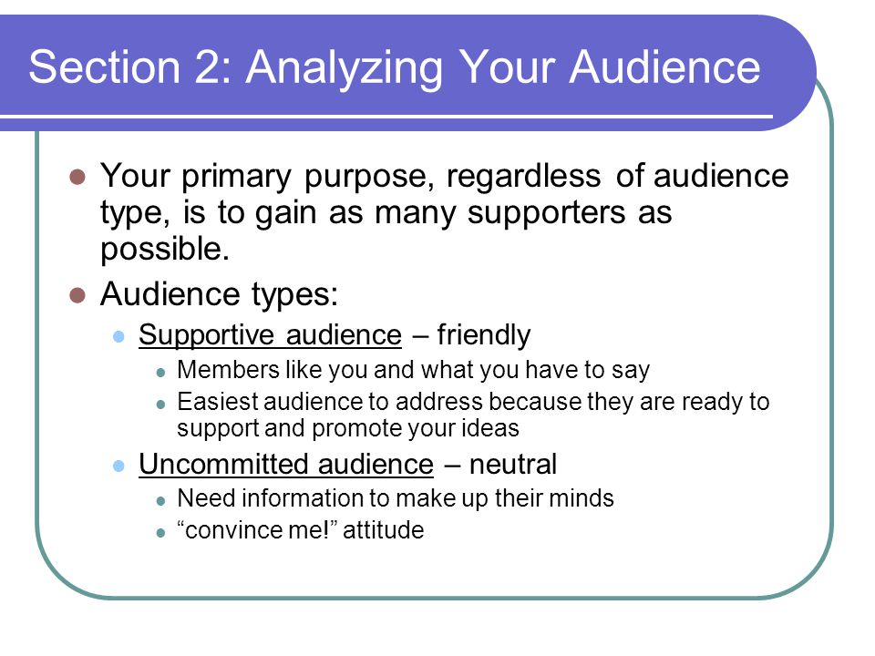 Section 2: Analyzing Your Audience