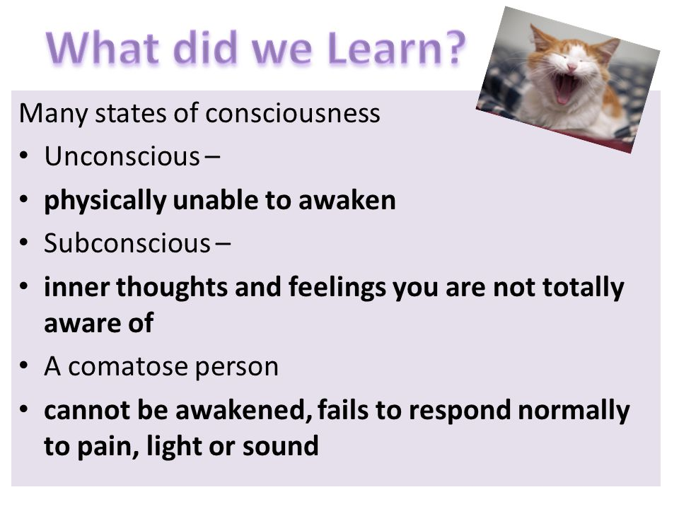 What did we Learn Many states of consciousness Unconscious –
