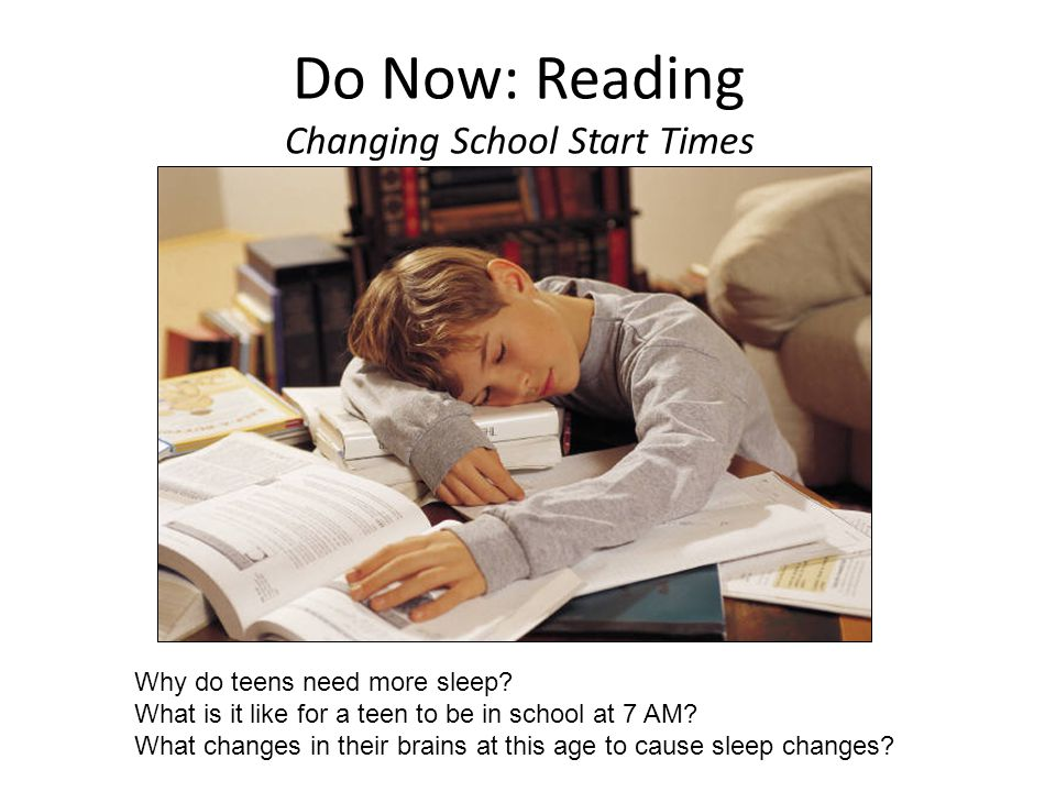 Do Now: Reading Changing School Start Times