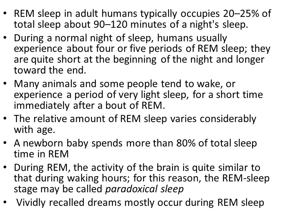 REM sleep in adult humans typically occupies 20–25% of total sleep about 90–120 minutes of a night s sleep.