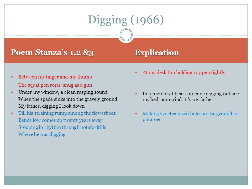 Digging (1966) Explication Poem Stanza's 1,2 &3