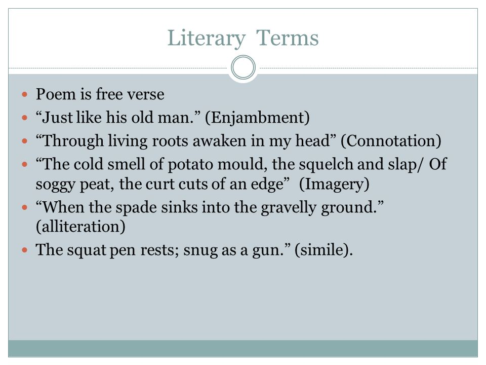 Literary Terms Poem is free verse