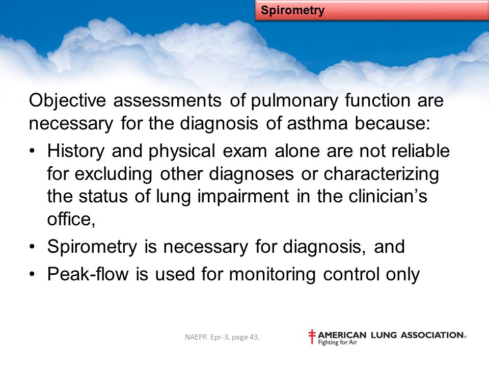 Spirometry is necessary for diagnosis, and