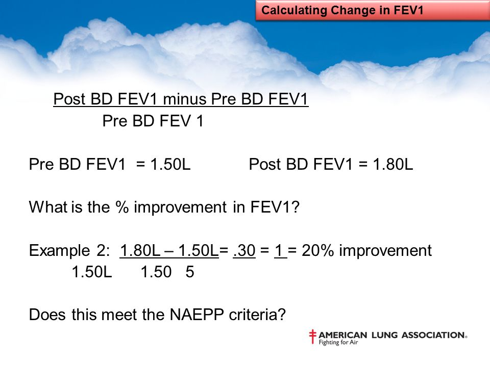 Calculating Change in FEV1