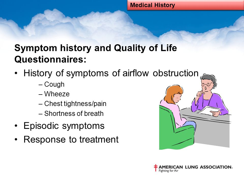 Symptom history and Quality of Life Questionnaires: