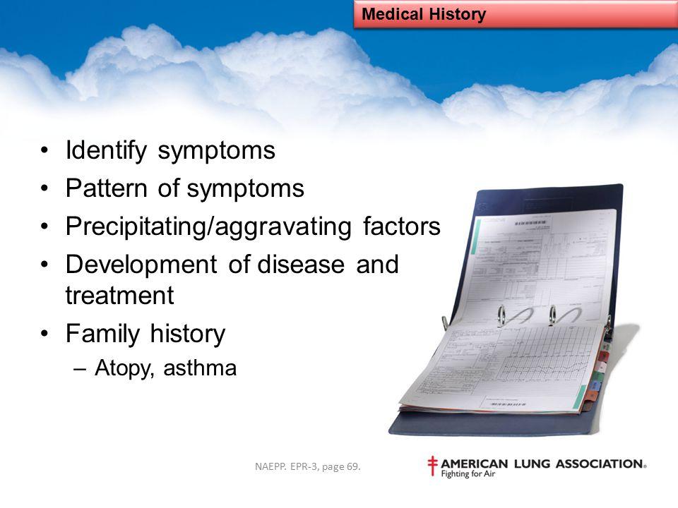 Precipitating/aggravating factors Development of disease and treatment