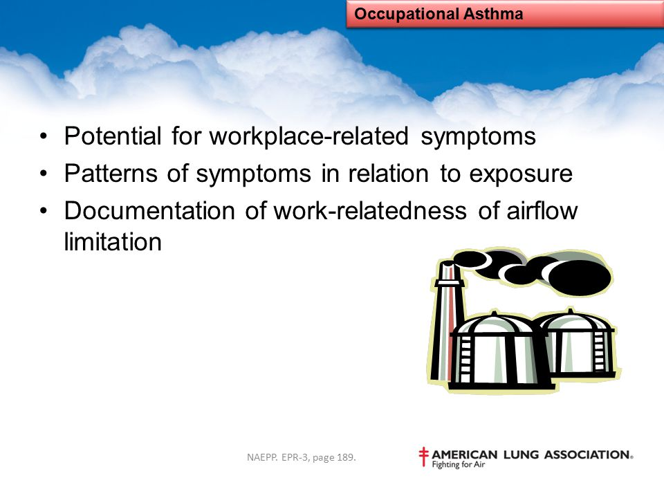 Potential for workplace-related symptoms