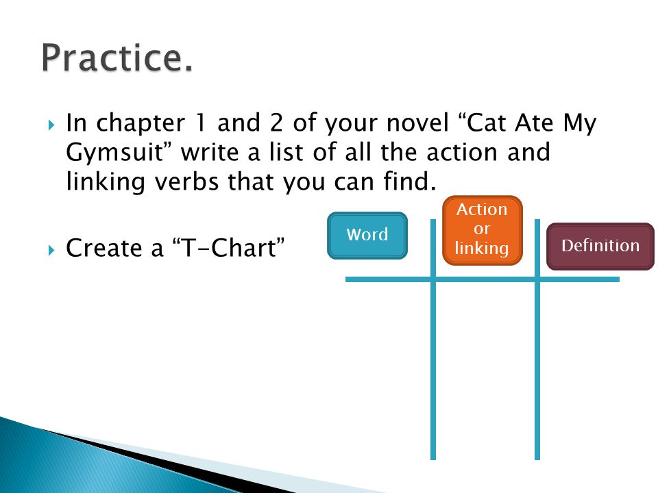 Practice. In chapter 1 and 2 of your novel Cat Ate My Gymsuit write a list of all the action and linking verbs that you can find.