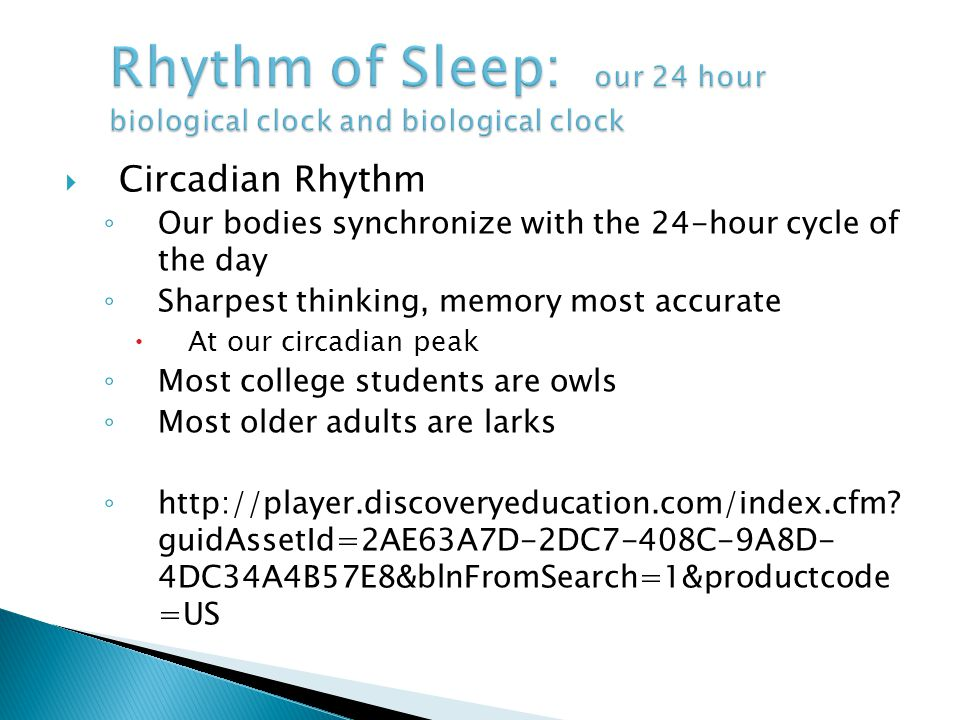 Rhythm of Sleep: our 24 hour biological clock and biological clock