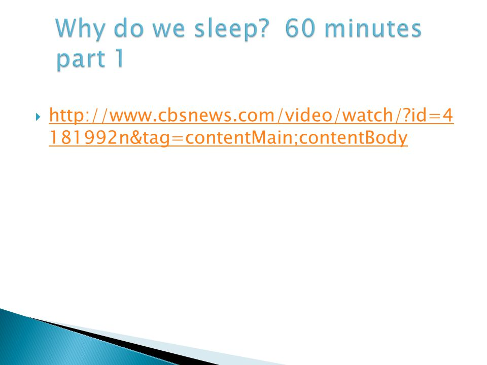 Why do we sleep 60 minutes part 1