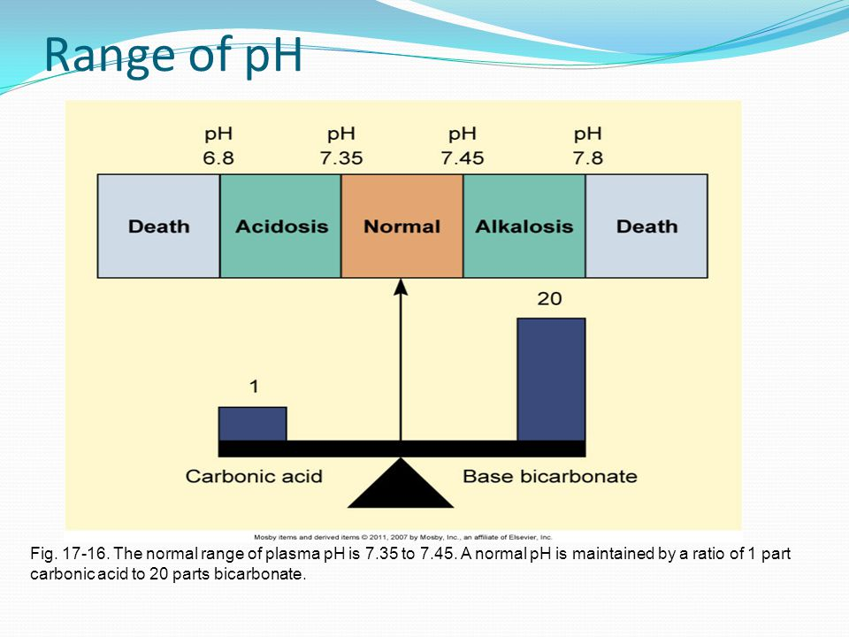 Range of pH Fig. 17-16. The normal range of plasma pH is 7.35 to 7.45. A normal pH is maintained by a ratio of 1 part.