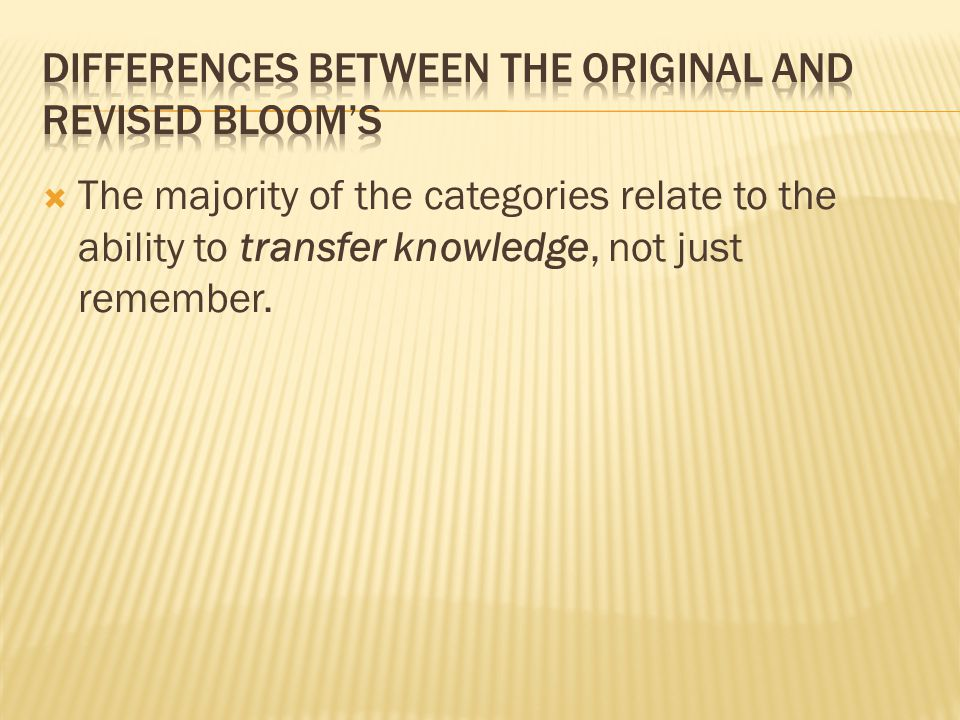 Differences between the Original and Revised Bloom's