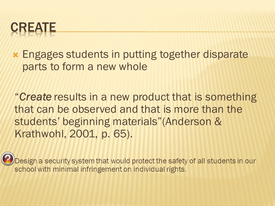 Create Engages students in putting together disparate parts to form a new whole.