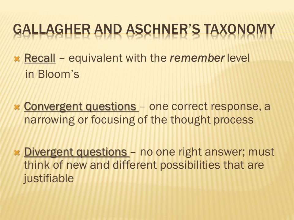 Gallagher and Aschner's Taxonomy