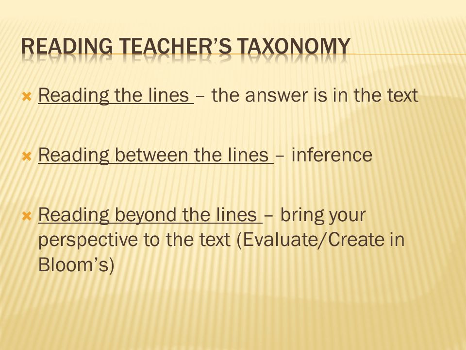 Reading Teacher's Taxonomy