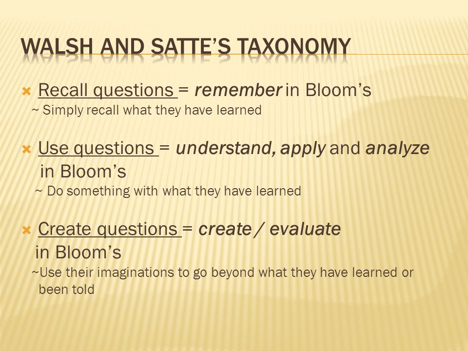 Walsh and Satte's Taxonomy