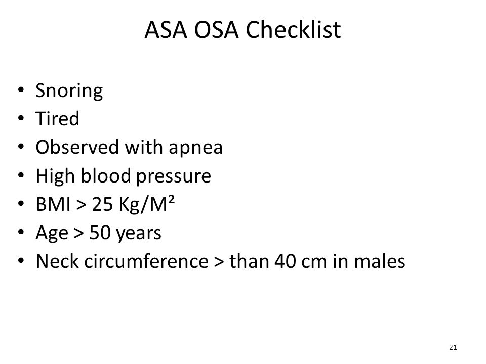 ASA OSA Checklist Snoring Tired Observed with apnea