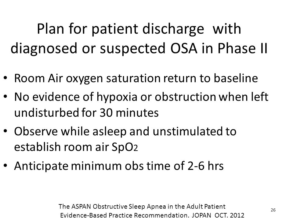 Plan for patient discharge with diagnosed or suspected OSA in Phase II