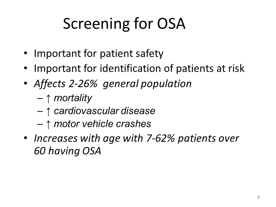 Screening for OSA Important for patient safety