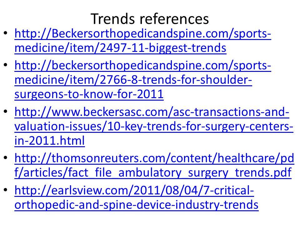 Trends references http://Beckersorthopedicandspine.com/sports-medicine/item/2497-11-biggest-trends.