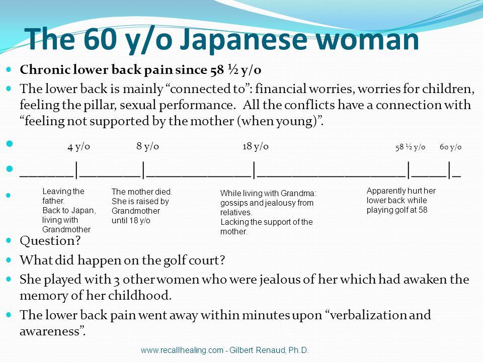 The 60 y/o Japanese woman 4 y/o 8 y/o 18 y/o 58 ½ y/o 60 y/o