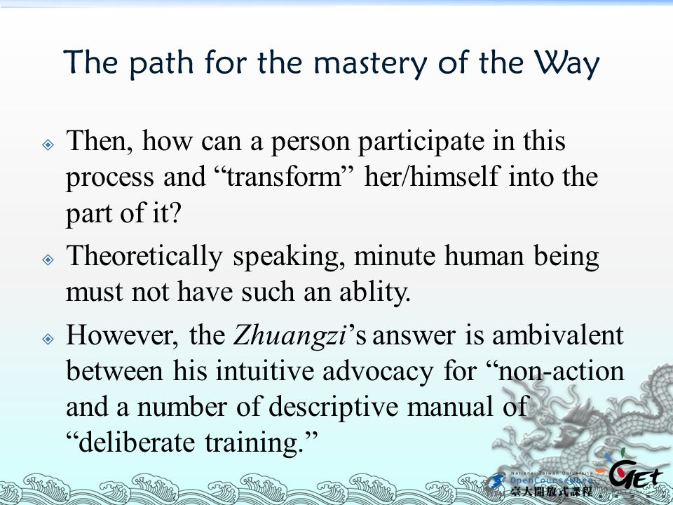 The path for the mastery of the Way