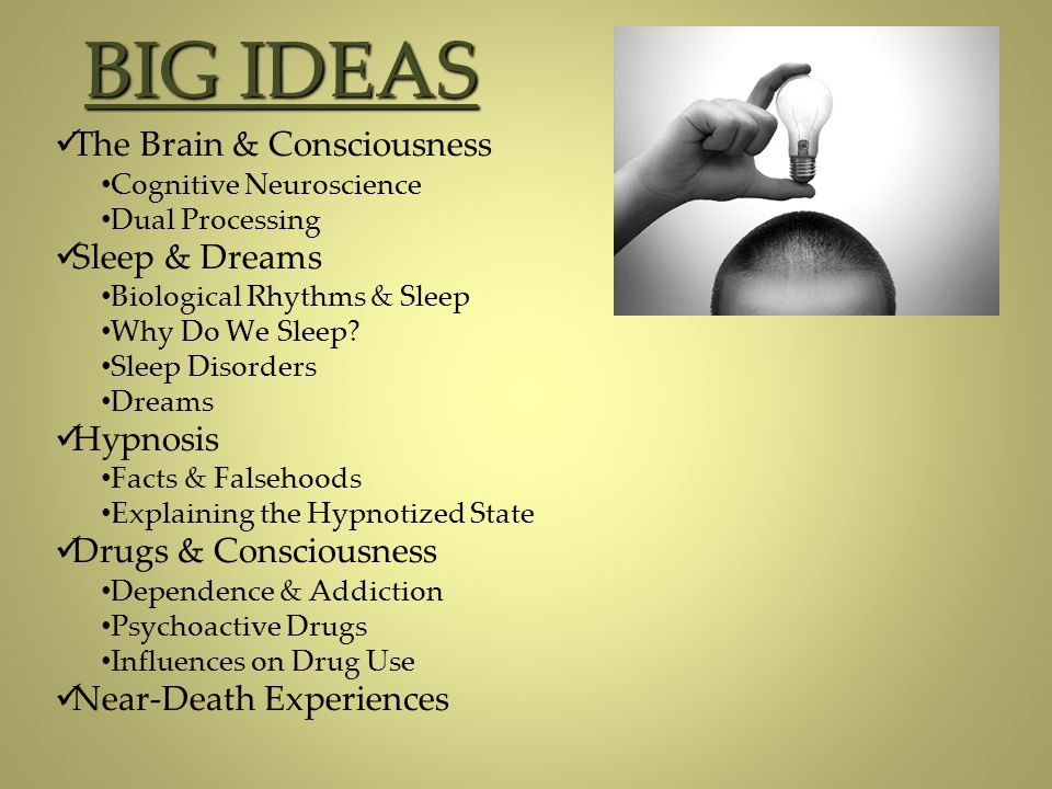 BIG IDEAS The Brain & Consciousness Sleep & Dreams Hypnosis