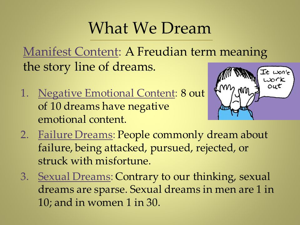 What We Dream Manifest Content: A Freudian term meaning the story line of dreams.