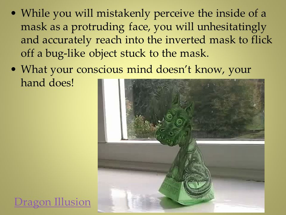While you will mistakenly perceive the inside of a mask as a protruding face, you will unhesitatingly and accurately reach into the inverted mask to flick off a bug-like object stuck to the mask.