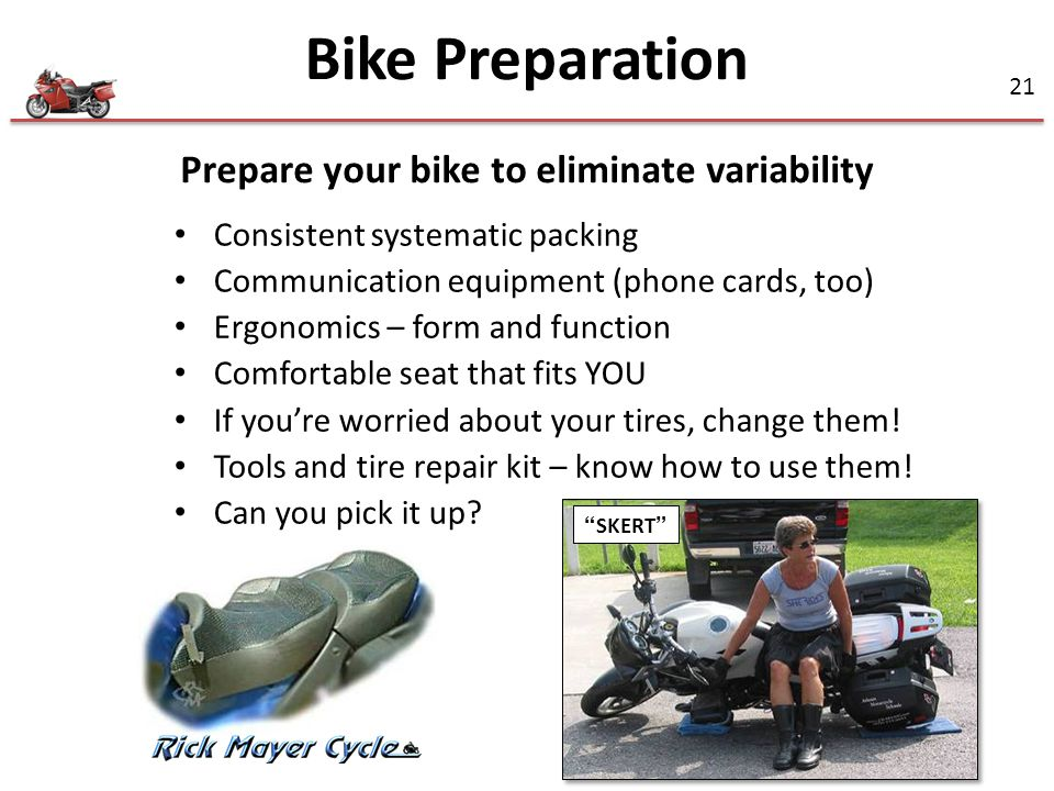 Prepare your bike to eliminate variability