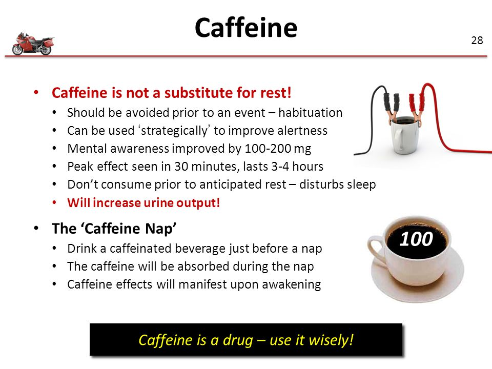 Caffeine is a drug – use it wisely!