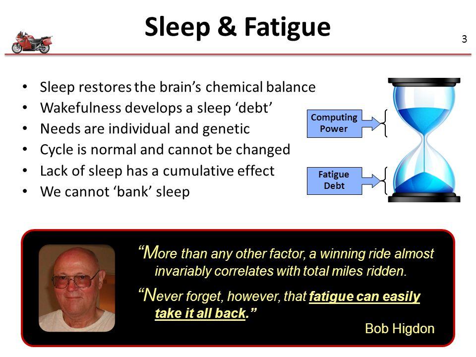 Sleep & Fatigue Sleep restores the brain's chemical balance. Wakefulness develops a sleep 'debt' Needs are individual and genetic.