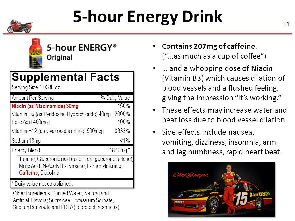 5-hour Energy Drink Supplemental Facts Contains 207mg of caffeine.