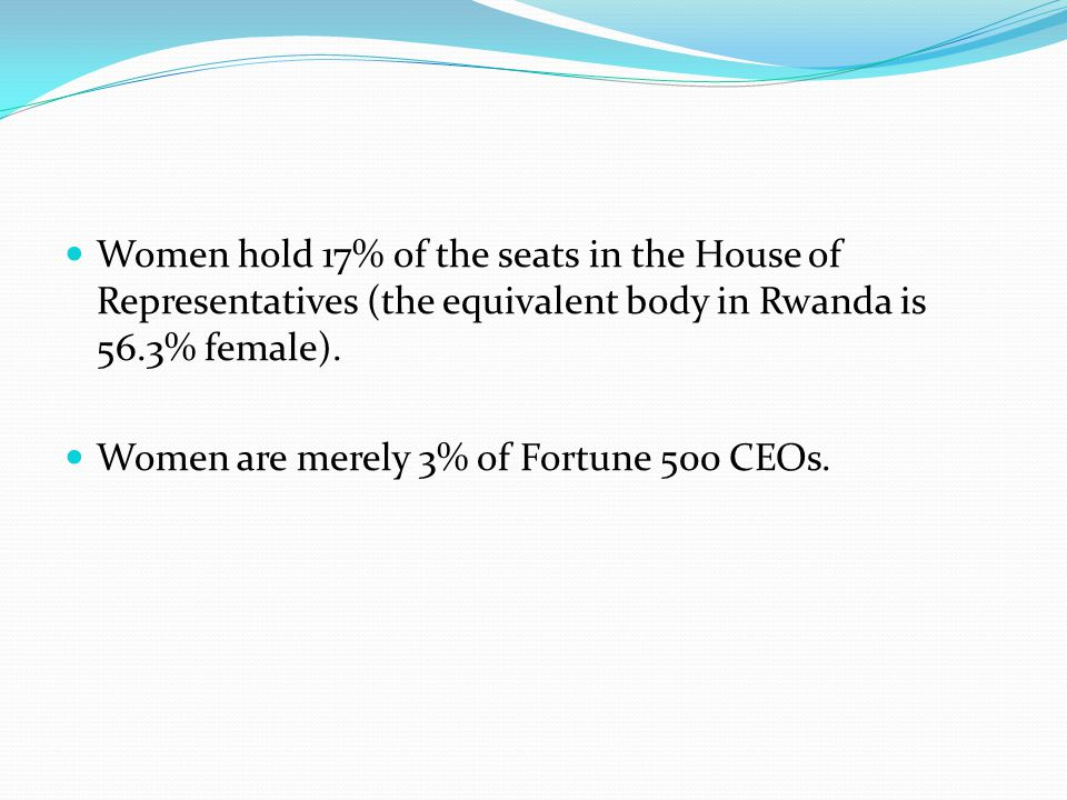 Women hold 17% of the seats in the House of Representatives (the equivalent body in Rwanda is 56.3% female).