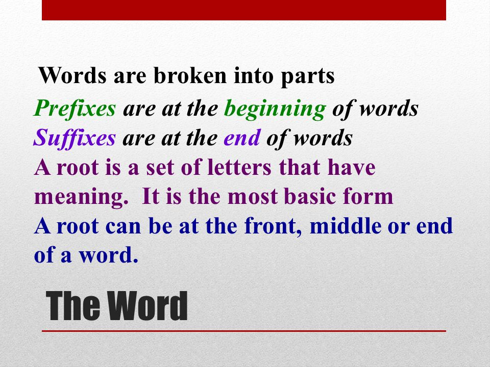 The Word Words are broken into parts
