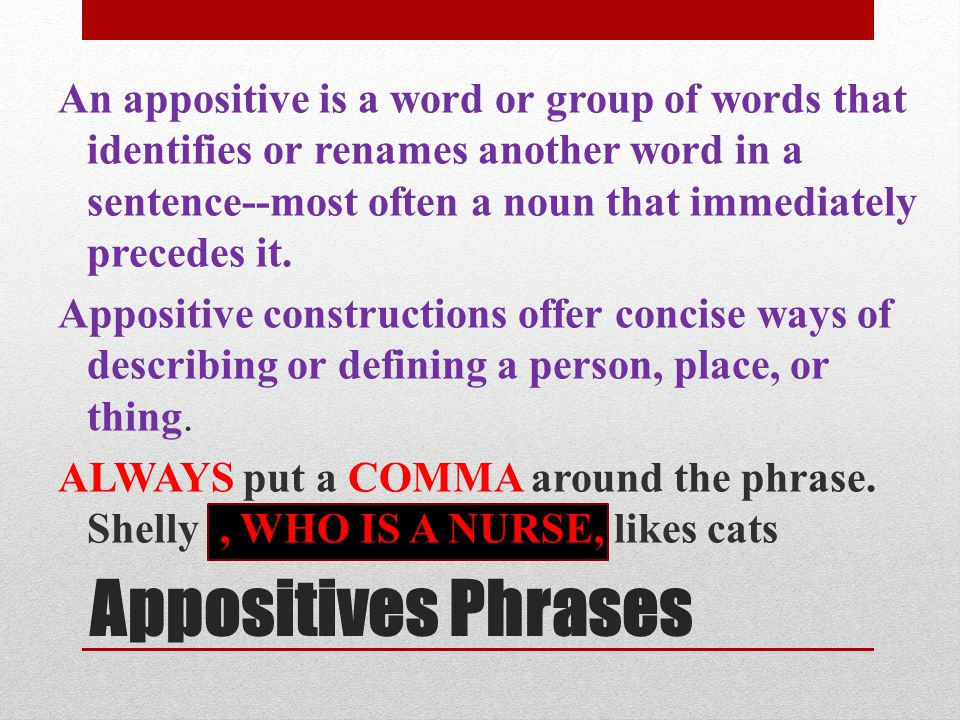 An appositive is a word or group of words that identifies or renames another word in a sentence--most often a noun that immediately precedes it.