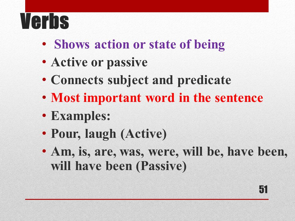 Verbs Shows action or state of being Active or passive