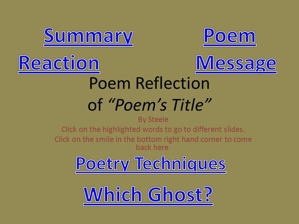 Poem Reflection of Poem's Title