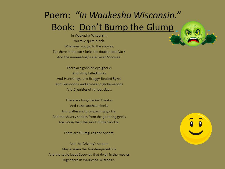 Poem: In Waukesha Wisconsin. Book: Don't Bump the Glump